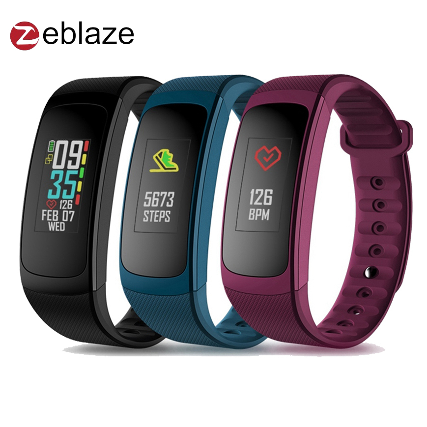 2018 New Zeblaze PLUG C Reflective Color LCD Wristband Smart Electronics Bluetooth Fitness Tracker Always-on Heart Rate Bracelet zeblaze zeband plus smart bracelet blue