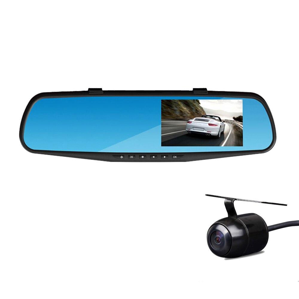 Rythme Full HD 1080 P Voiture Dvr Caméra Auto 4.3 Pouce Rétroviseur Numérique Vidéo Enregistreur Double Lentille Registratory Caméscope