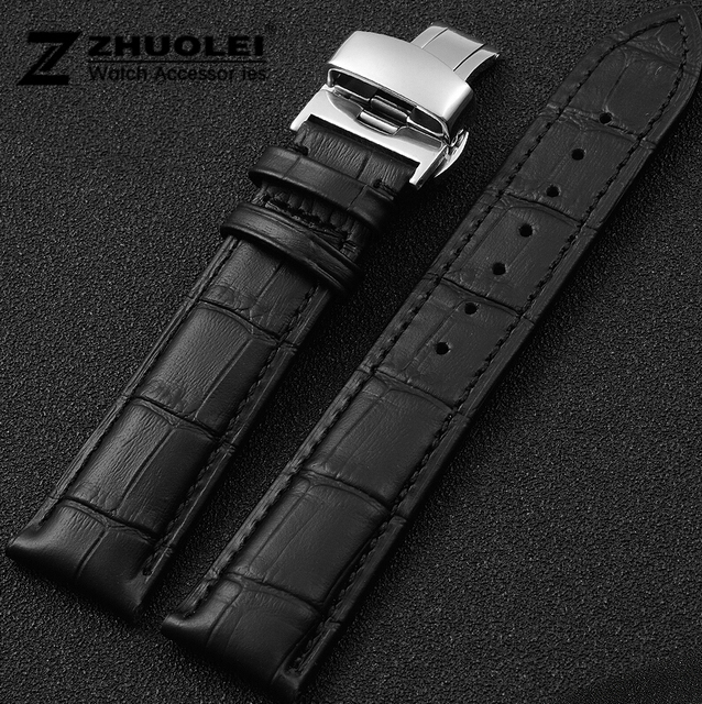 61fed006c Promotion 18mm 20mm 22mm Black Men Crocodile Genuine Leather WatchBand Strap  Silver rose gold Butterfly Stainless