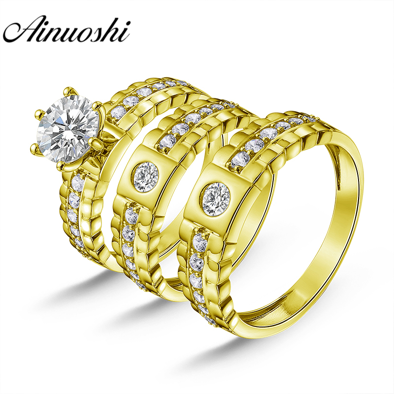 AINUOSHI Real 14K Yellow Gold TRIO Couple Ring Vintage Design 6 Claws Bridal Ring Engagement Wedding