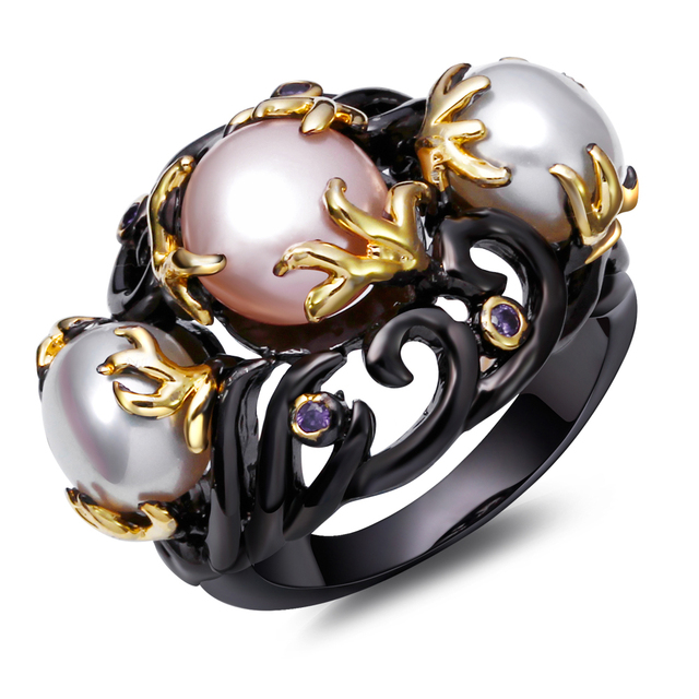 Pearl Ring for Women Gold Plated With Purple Cubic Zirconia Black Color Party Ring Brand Fashion  Jewelry