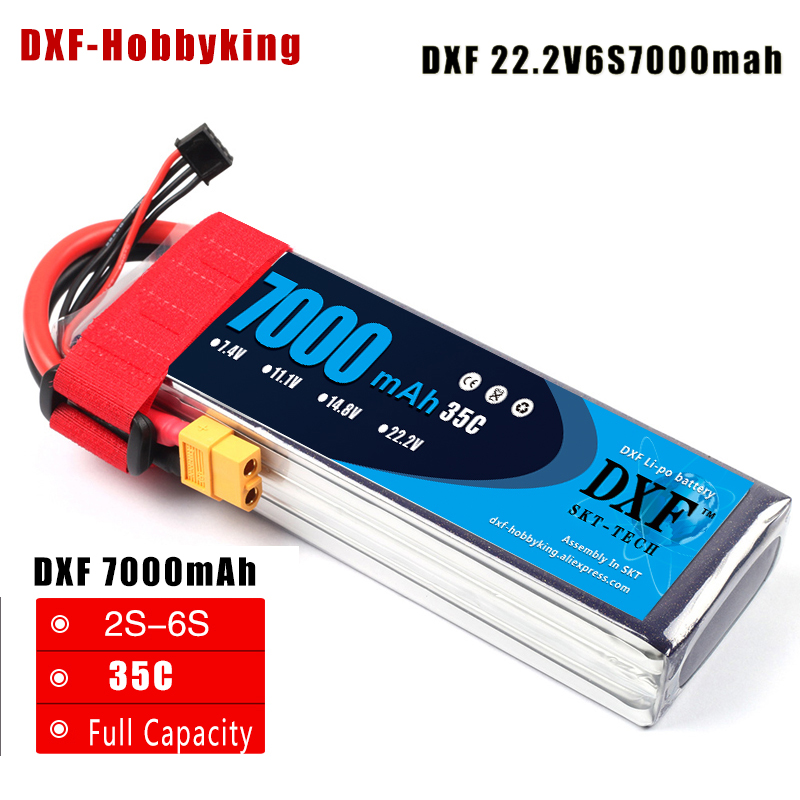 2017 DXF  Li-Poly Battery 22.2V 7000mAh 35C MAX60C 6S RC Car Lipo Bateria  Multicopter Quadcopter  Race Car Truck traxx drone free shipping 4pcs viborg carbon fiber rhodium plated xlr connector plug 3pin audio balance plug