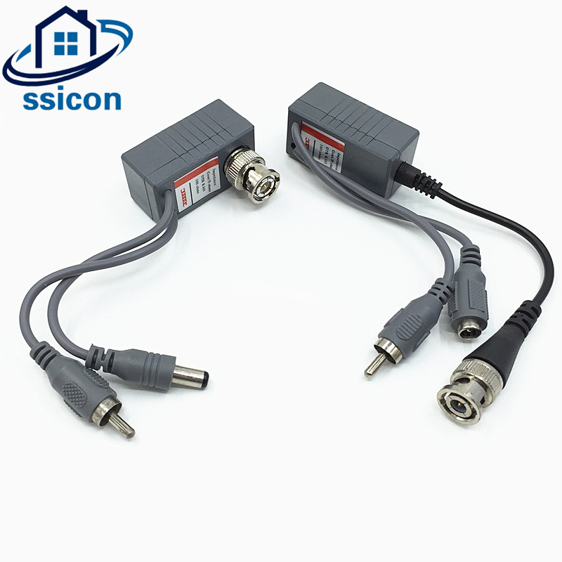 SSICON 5Pair CCTV CAT5/5E/6 Cable Balun CCTV BNC Video Balun Power Passive Balun Rj45 POE Power Video Audio single channel passive video balun grey silver 2 pcs