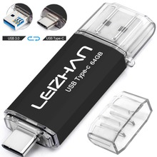 LEIZHAN Pack of 2 Type-C Flash drive for Samsung Galaxy S9, Note9, S8, S8 Plus, LG G6 128GB 64GB 32GB 16GB Tipo C Pendrive USB