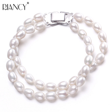 Charm Bracelet Pearl Jewelry white Natural Freshwater Double Row Bracelets For Women Gift