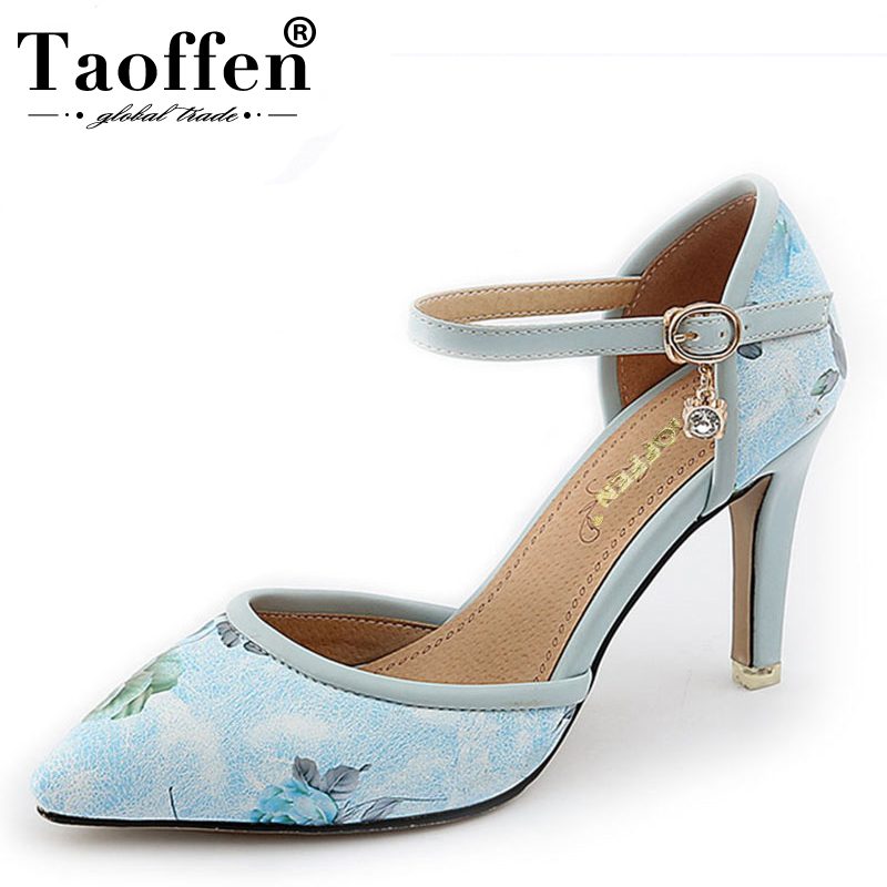 TAOFFEN Size 31-46 Sexy Womens Flower High Heel Sandals Print Ankle Strap Pumps Thick Heel Ankle Strap Woman Shoe Summer ShoesTAOFFEN Size 31-46 Sexy Womens Flower High Heel Sandals Print Ankle Strap Pumps Thick Heel Ankle Strap Woman Shoe Summer Shoes