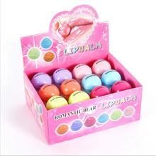 72pcs Romantic Bear Ball Lip Balm Makeup Baby Lips Moist Balm Cute Fruity Flavor Libalm Natural Plant Nutritious Lips Care