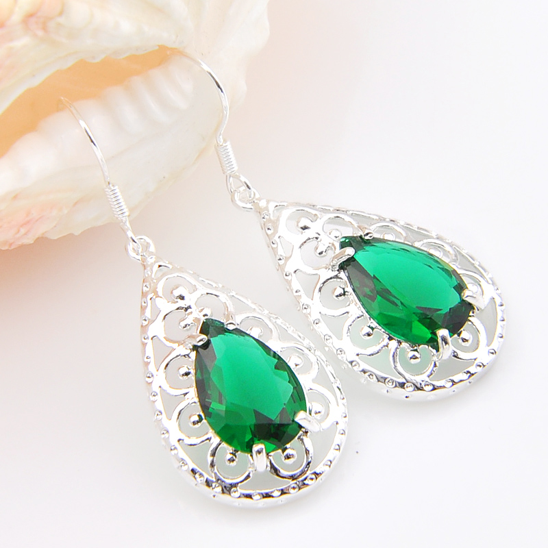 Promotion Luckyshine Drop Green Created Quartz Silver Pated Holiday Wedding Dangle Earrings Russia USA Australia Earrings