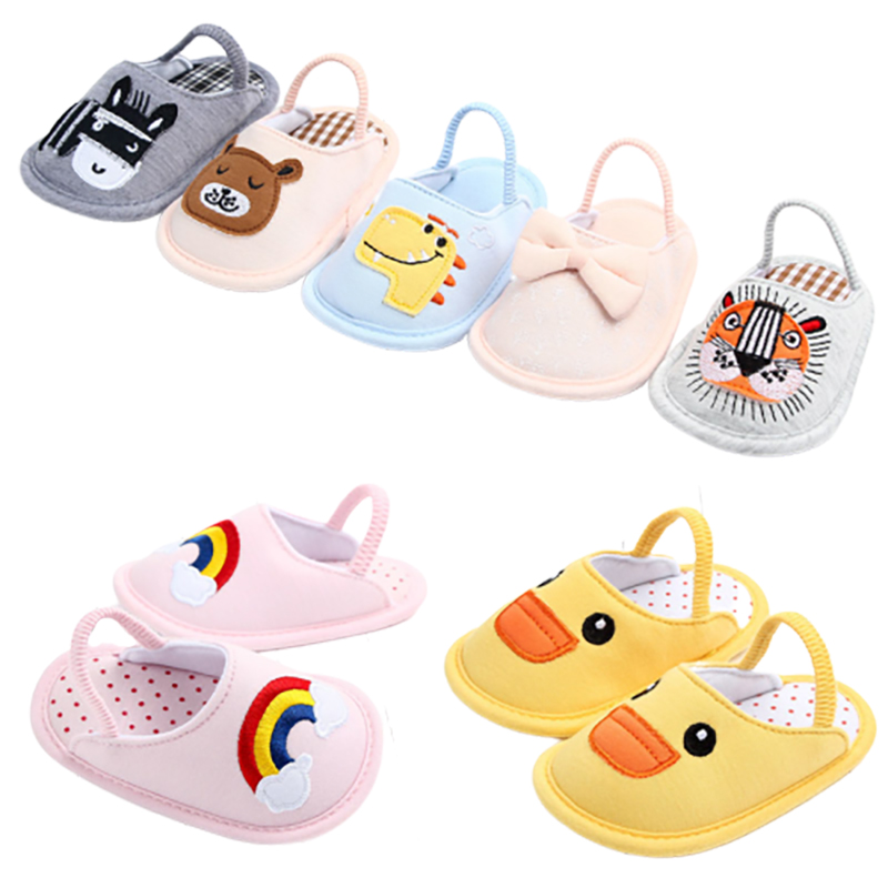Fashion cotton baby summer shoes cute infant slippers baby boys girls shoes soft sole anti-slip indoor shoes for newborns