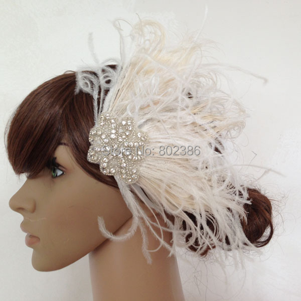 Bleached Peacock Feather Fascinator Bridal Wedding Hair