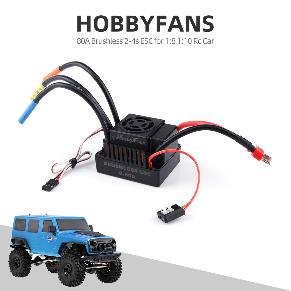 HOBBYFANS 60/80/120A Brushless 2-3/4s ESC With BEC And Programming Card For 1:8 /1:10 RC Car Off-road Buggy Monster