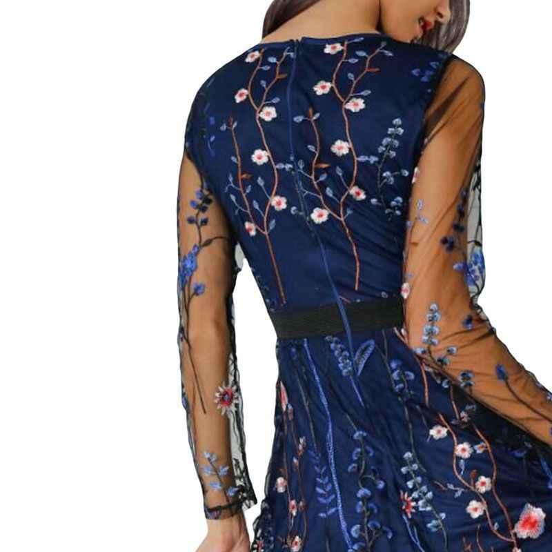 2019 Цветочная вышивка платье женское прозрачное Сетчатое летнее Бохо Мини Прозрачное Черное Платье Vestidos