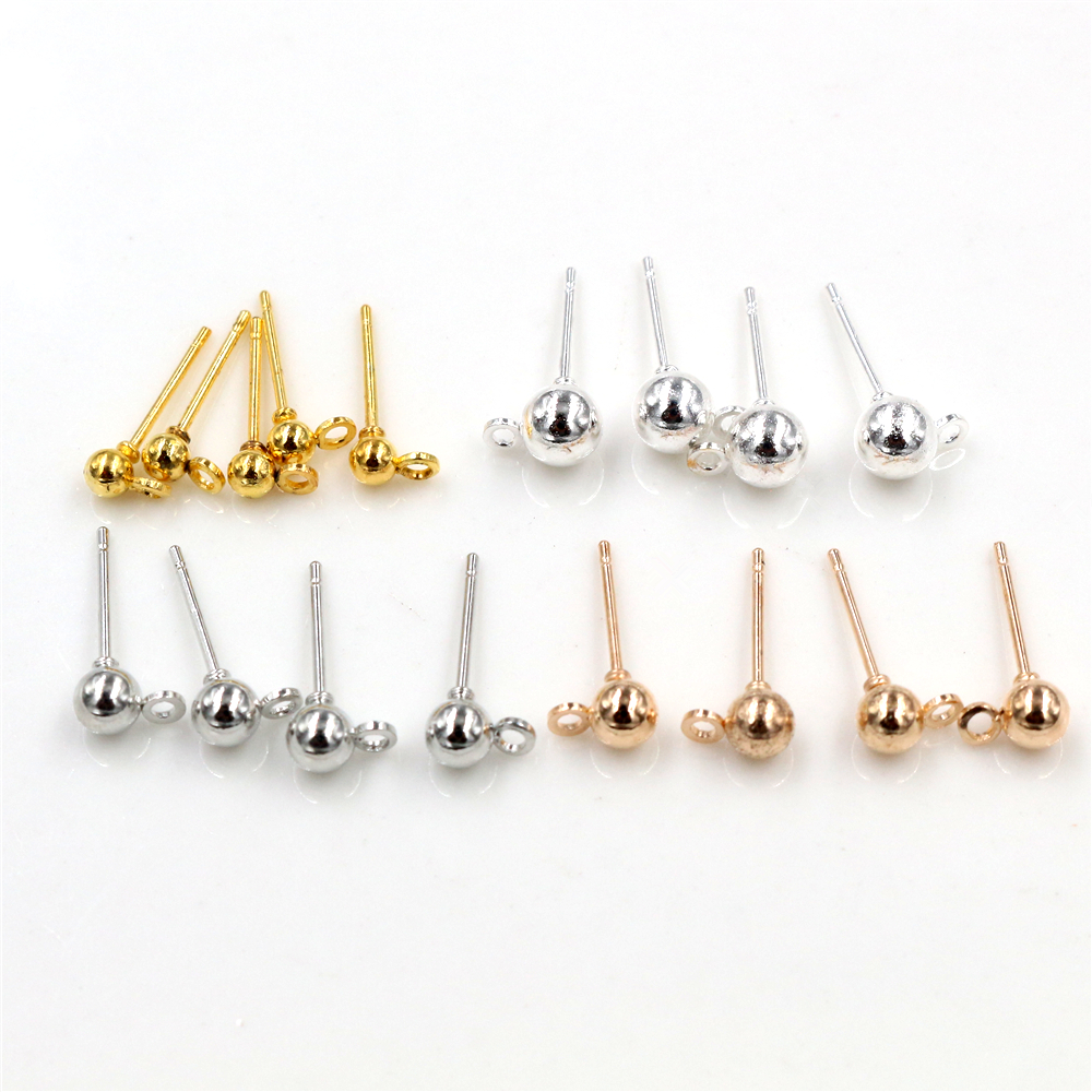 50pcs/lot 3/4/5mm 4 Colors Pin Findings Stud Earring Basic Pins Stoppers Connector For DIY Jewelry Making Accessories Supplies