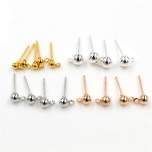 цена на 50pcs/lot 3/4/5mm 4 Colors Pin Findings Stud Earring Basic Pins Stoppers Connector For DIY Jewelry Making Accessories Supplies