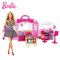 Barbie Doll Barbie Shiny Holiday Home Playset Furniture Miniatures Dollhouse Kit Glam Getaway House Fully Furnised Baby Girl Toy