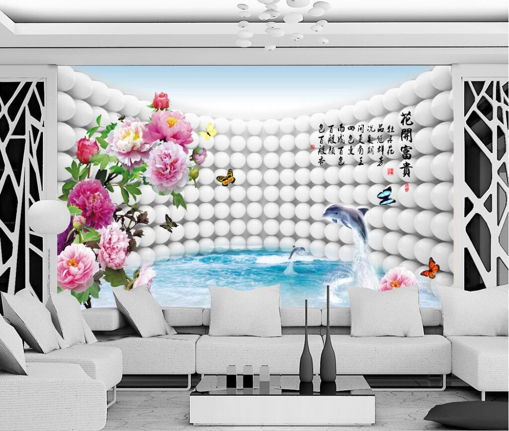 3d wallpaper custom photo non-woven mural Peony dolphins sphere 3d wall murals wallpaper for walls 3 d living room painting