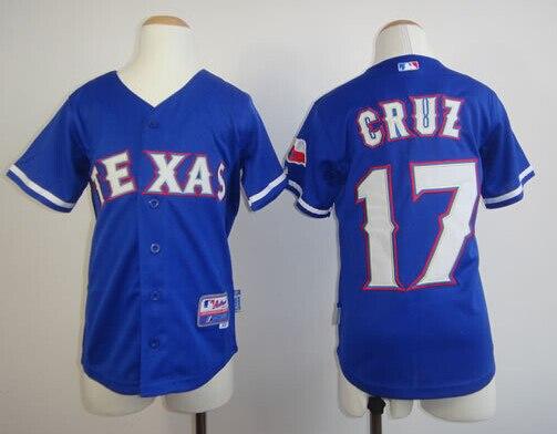 Youth Texas Rangers Jerseys  17 Nelson Cruz blue Baseball Jersey sportswear  jerseys for kids Wholesale Kids Sports Jersey 21a9655e2