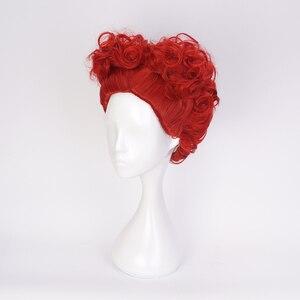 Image 3 - Alice in Wonderland Red Queen Cosplay Wig Queen of Hearts Red Heat Resistant Synthetic Hair Wigs + Wig Cap