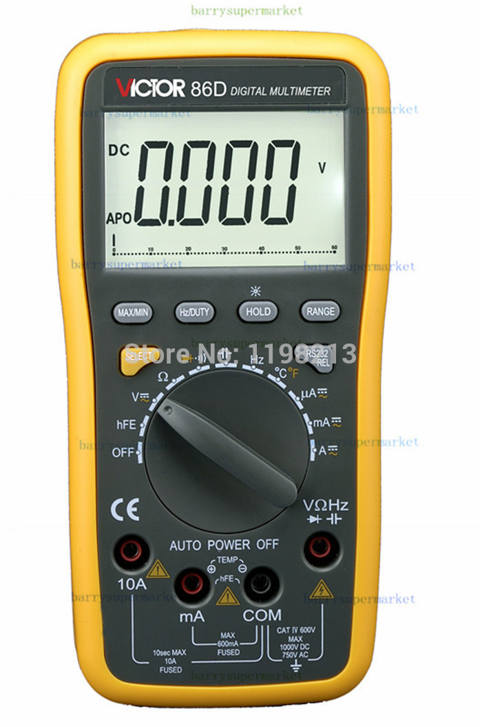 VICTOR VC86D Digital Multimeter Temperature Frequency Resistance Capacitance DC AC Current Voltage Meter Tester RS232 & USB Jack my68 handheld auto range digital multimeter dmm w capacitance frequency