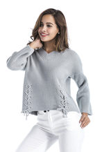 Lace Up Sweater Women 2018 Autumn New Knitted Women Sweaters and Pullovers Solid Loose Jumper Bandage Sweater Sexy V-Neck Gray(China)