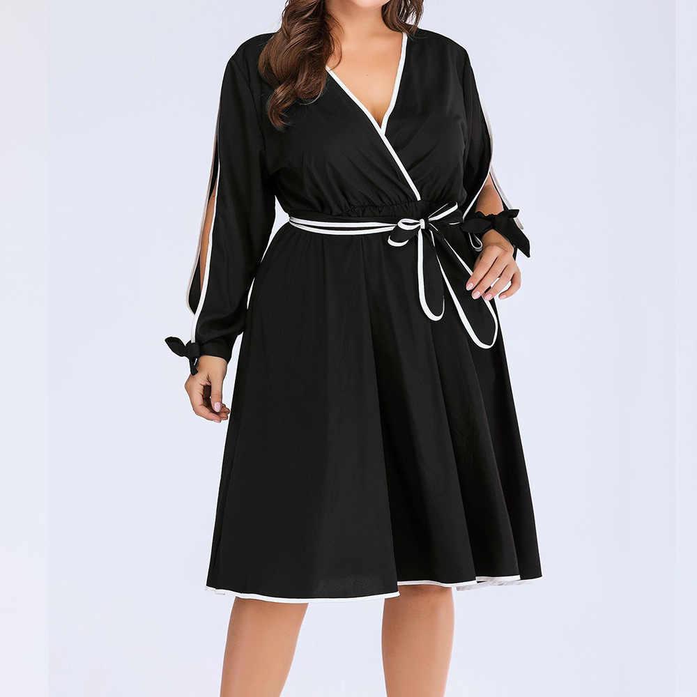 Женское платье больших размеров, Летние черные с длинными рукавами, с высокой талией, повседневные осенние вечерние офисные платья, большие размеры 4XL