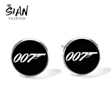 SIAN Brand 007 James Bond Cufflinks for Mens Minimalism Black Pattern Glass Cabochon Copper Shirt Suit Cuff Links Sleeve Buttons(China)