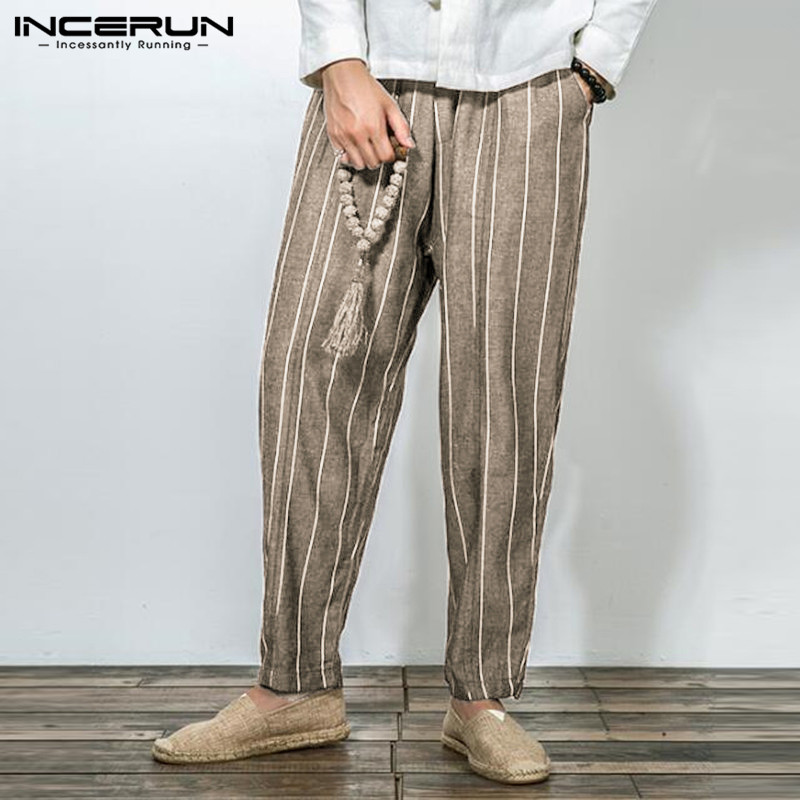 INCERUN Men Pant Stripes Long-Trousers Elastic-Waist Male Baggy Plus-Size Cotton Casual
