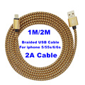 BrankBass 6 Colours 2A Round Braided Fabic Woven USB Data Sync Charger Cable Cord Wire for iPhone 5 5s 6 6Plus 7 for ipad