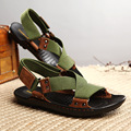 fashion men genuine leather gladiator sandals skid resistance beach shoes army green casual shoes sandalia masculina XK122604