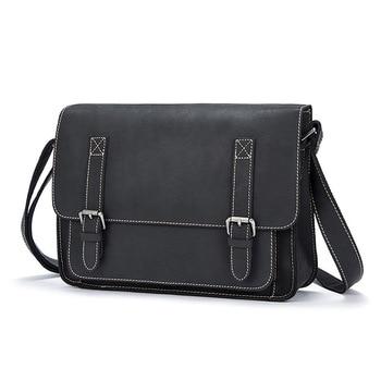 Crazy Horse Leather Men's Shoulder Bag Large Capacity Computer Messenge Bag New Fashion Business Briefcase Men Handbag Bags
