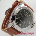 Люксовый бренд parnis Commander, светящиеся мужские часы, стальной чехол, кожаный ремешок для часов, автоматические механические часы, наручные час...