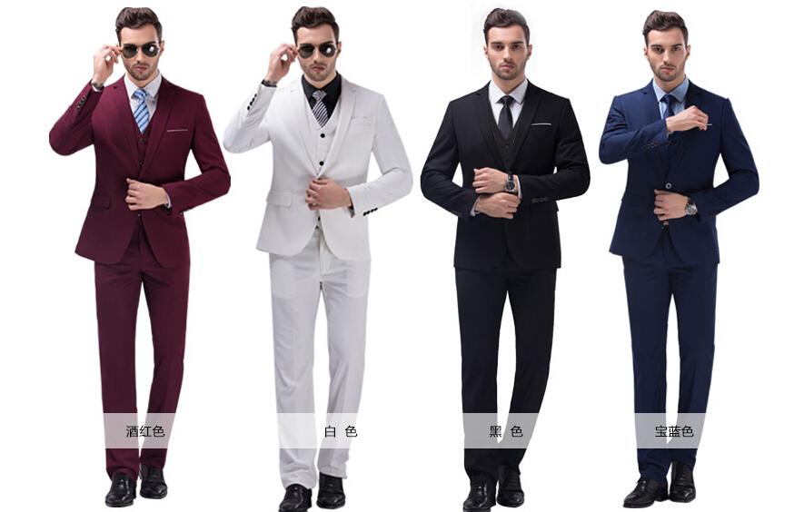 S 4xl 7 Colors Jacket Vest Pant Free Shipping2017men Business Suit Tuxedo Wedding Suits Groom Men 3 Piece Dress Purple In From