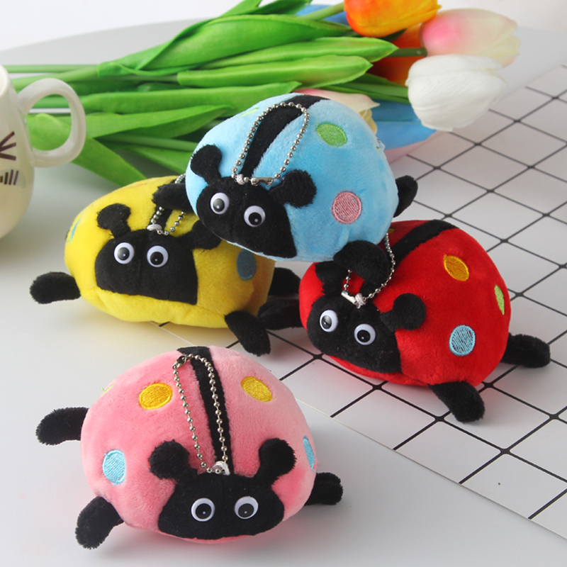 Keyring Key Holder Pendant Car Ornament Bag Charm Stuffed Animal Ladybug Toy Kids Rattle Crib Newborn Toys Baby Plush Hand Bell