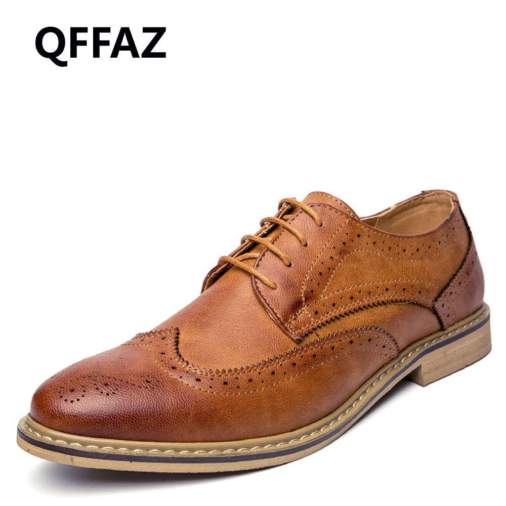 QFFAZ New 2018 Luxury Leather Brogue Mens Flats Shoes Casual British Style Men Oxfords Fashion Brand Dress Shoes For Men qffaz new 2018 luxury leather brogue mens flats shoes casual british style men oxfords fashion brand dress shoes for men lace up
