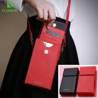 FLOVEME 6 Universal PU Leather Shoulder Phone Bag Wallet Case For IPhone 8 7 7s 6