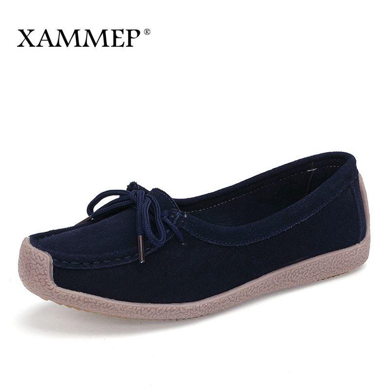 Xammep Women Flats Spring Autumn Brand Women Shoes Women Sneakers Cow Suede Female Basic Casual Shoes Round Toe High Quality suede
