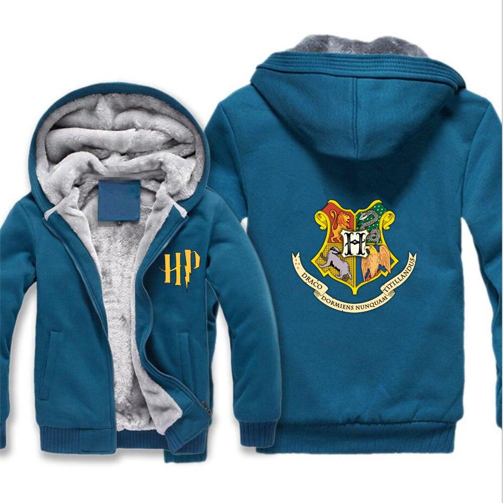 Harri potter veste Gryffondor Poufsouffle Serpentard Cosplay manteau Hommes Hiver Chaud Polaire À Capuche Sweat-Shirts Homme sweatshirt à capuche épais