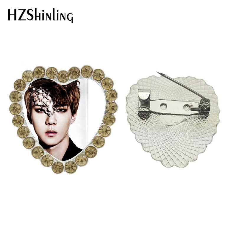 2017 Baru Handmade Perhiasan EXO Kristal Hati Bros Perhiasan KPOP STAR Breastpin Kaca Bros Pin Aksesoris Pakaian Fan Hadiah