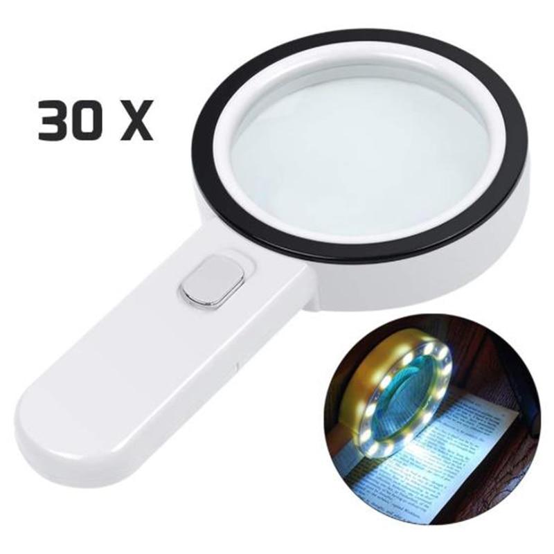 30X Lupa com Luz, Handheld Iluminado Lupa com Lente Grande de Vidro Duplo Led Lupas para Idosos óculos de Leitura