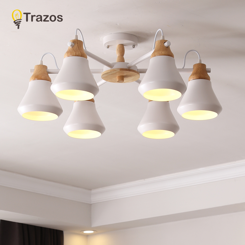 TRAZOS Lustre Wooden Chandelier For Living Room Iron Lampshade LED Chandelier Lighting Lustres Para Sala De Jantar Home Lamp