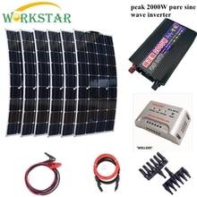 6 100W Flexible Solar Panels Peak 2000W Inverter MPPT 30A Controller Houseuse 600W Solar System Kits