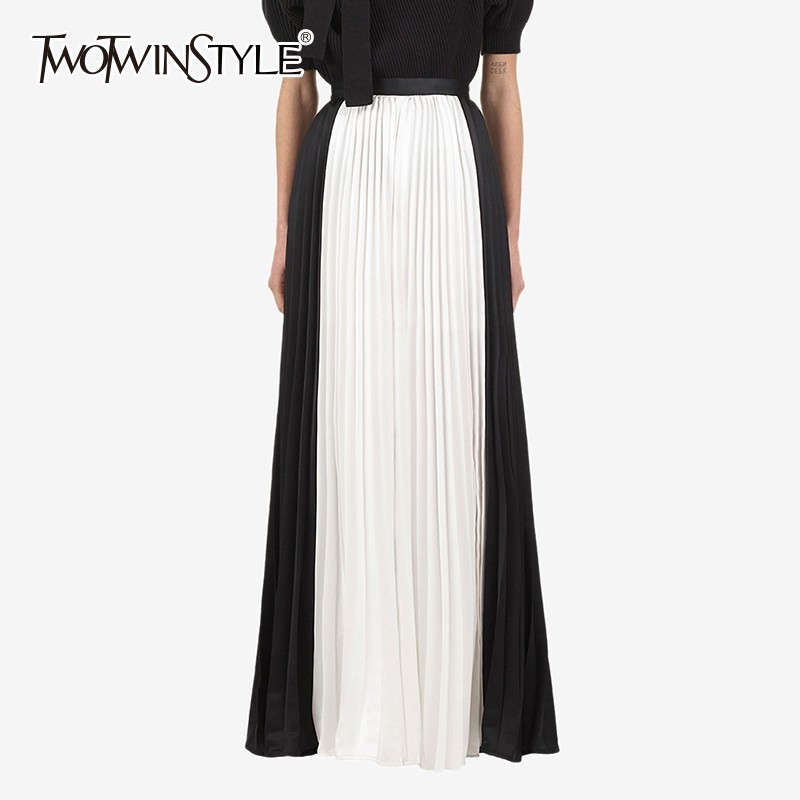TWOTWINSTYLE Chiffon Women's Trousers Oversize High Waist Patchwork Pleated Wide Leg Pants For Women 2018 Autumn Fashion Clothes