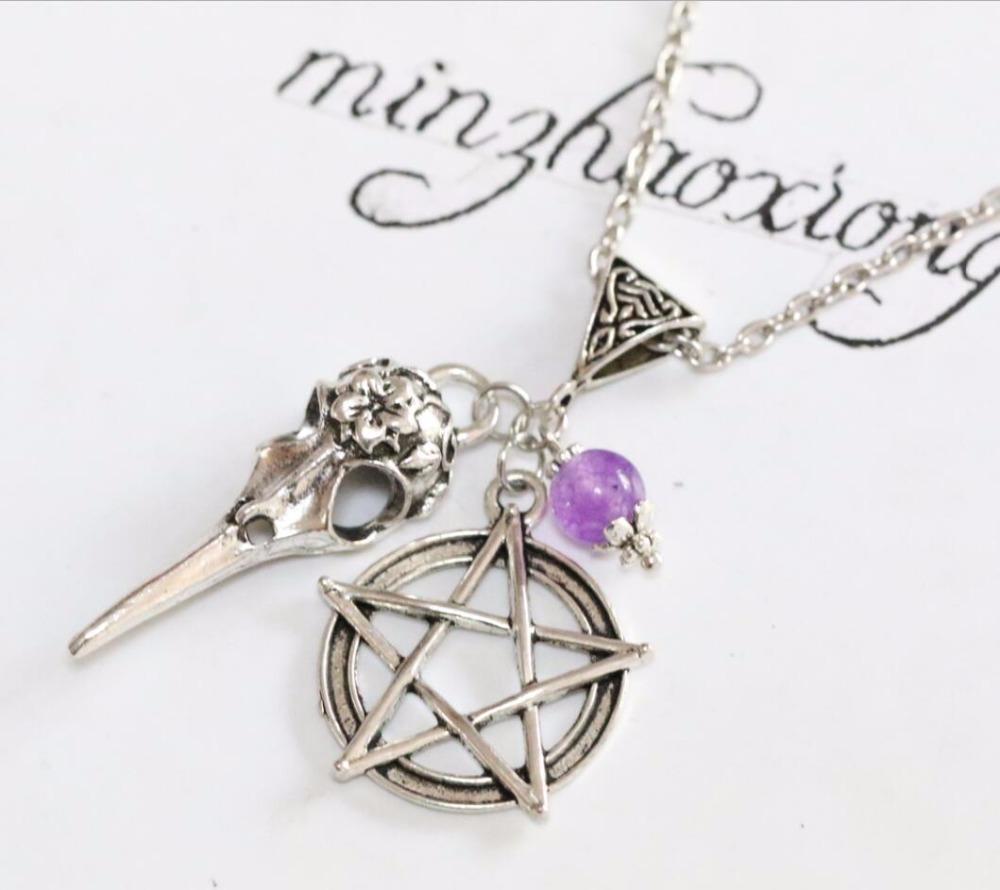 ᗜ LjഃVintage Antique Silver Bird Crow Skull Pentagram Charm Pendant ...