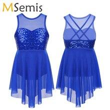 Dance-Costume Lyrical Ballet-Dress Girls Kids Sleeveless Irregular Hem Sequins Sweetheart