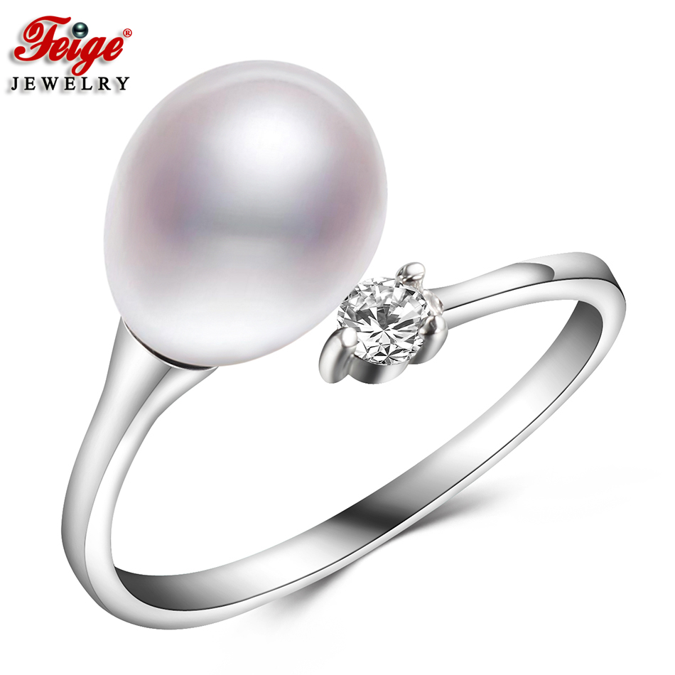 Basic Easy Pure Pearl Ring For Feminine Anniversary Jewellery Items 8-9Mm Freshwater Pearl Rings Positive Jewellery Wholesale Feige