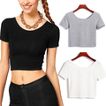 Hot 2016 New Summer Sexy Women Crop Top Short Sleeve Casual T shirt camisetas mujer Cropped Tops Tee Shirts 3 Colors Z2
