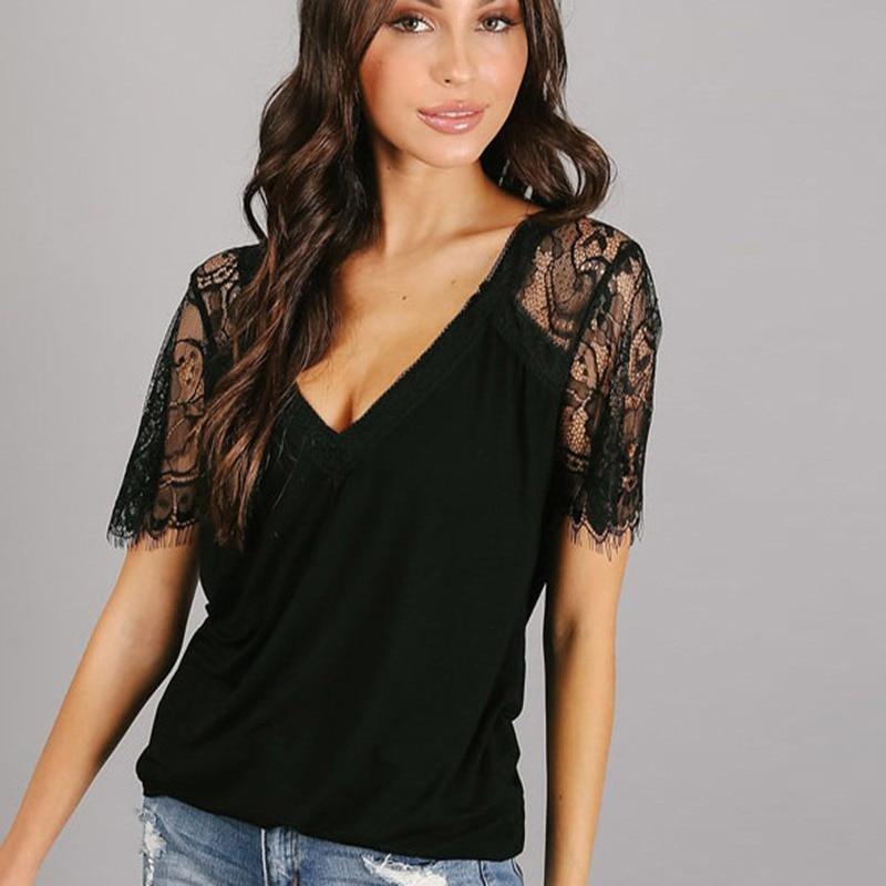 Črna Elegantna Prosojna bluza Ženske Kontrast Lace Top Office - Ženska oblačila