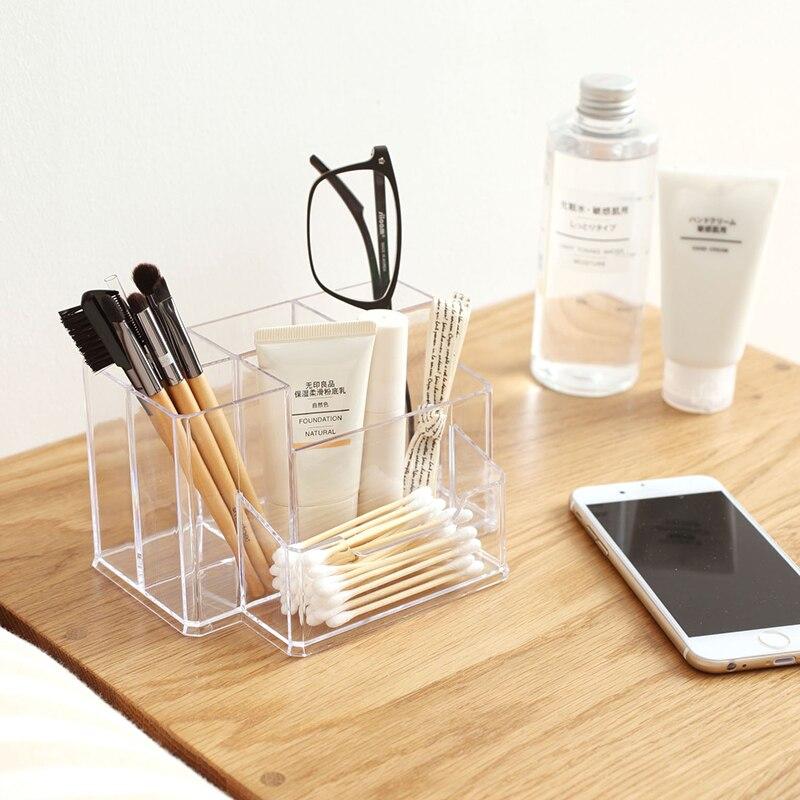 2017 Mode Plexiglas Coton-Tige Boîte Organisateur Cosmétique Titulaire Q-pointe Maquillage Cas De Stockage des Bobines Organisateur Hôtel Fournitures