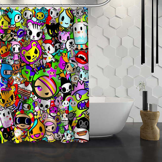 Custom Tokidoki Shower Curtain Waterproof Fabric Bath For Bathroom WJY117