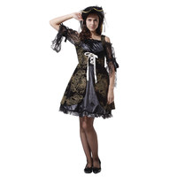 Adult Luxurious Women Sexy Black Lace Pirate Costume Gold Print Halloween Purim Carnival New Year Masquerade Fancy Corset Dress